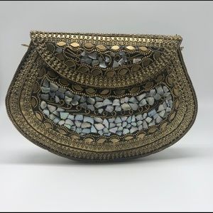 Indian handmade metal clutch mosaic stone clutch